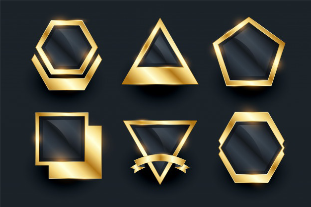 Set of golden empty badges and labels