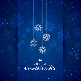 Blue merry christmas snowflakes festival background