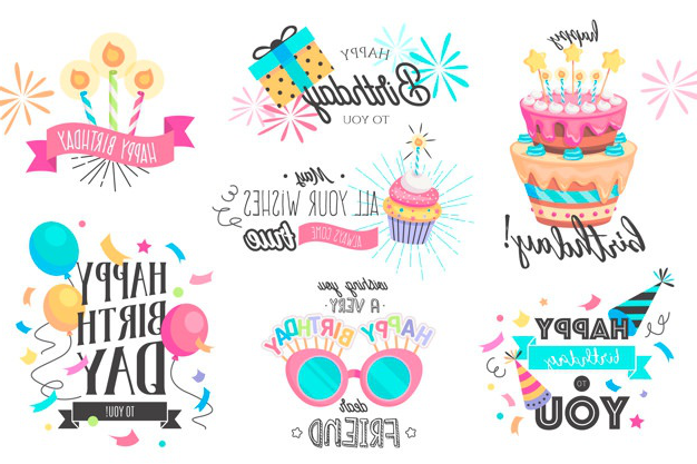 Funny hand drawn birthday collection