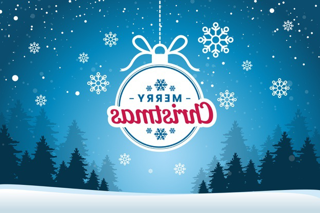 Flat christmas background with snowflakes