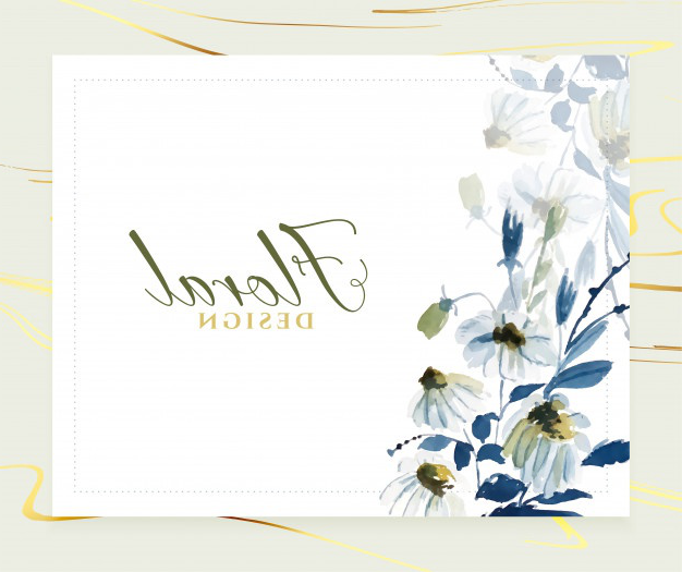 Elegant watercolor blue floral card  template