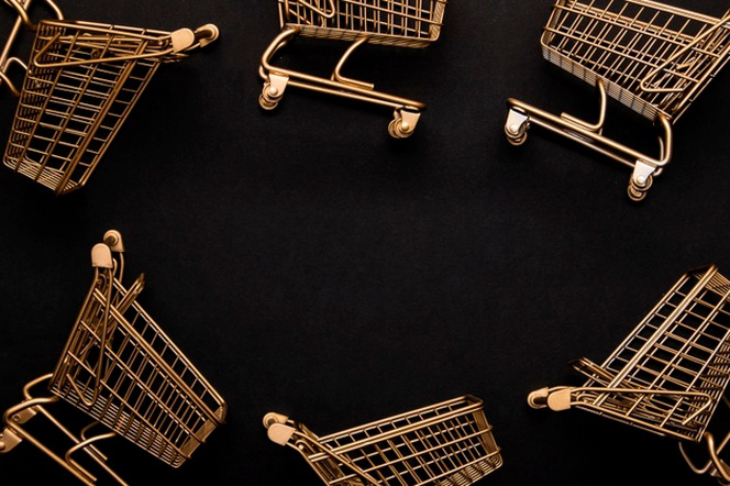 Top view shopping cart arrangement copy space