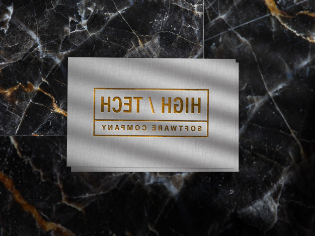 Embossed gold logo mockup on linen paper