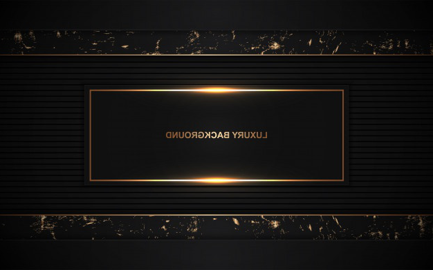 Dark abstract background overlap layers with golden decoration