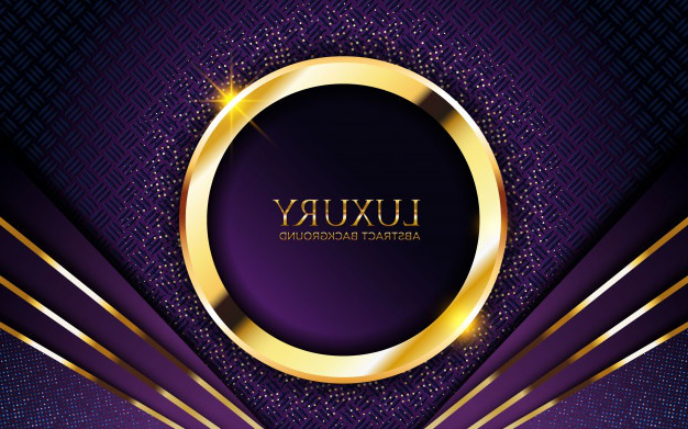 Luxury dark purple background with golden circle and glitter