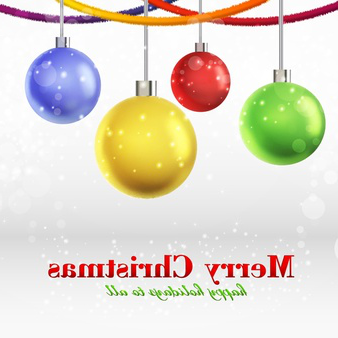 merry christmas card with four glowing ornamented balls hanging on ribbons
