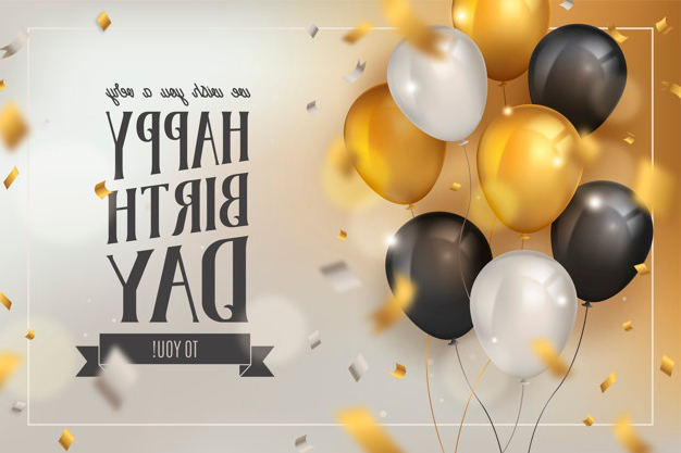 Happy birthday background with luxury balloons and confetti