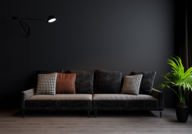 Modern living room interior background, dark wall, scandinavian style, 3d illustration. 3d rendering
